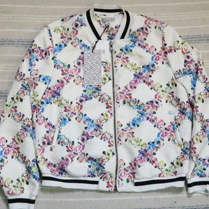 NWT Lucca Couture Floral Baseball Bomber Jacket